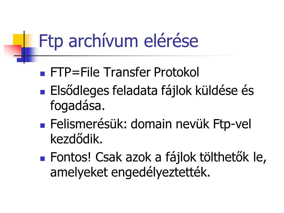 Ftp archívum elérése FTP=File Transfer Protokol Elsődleges feladata fájlok küldése és fogadása.
