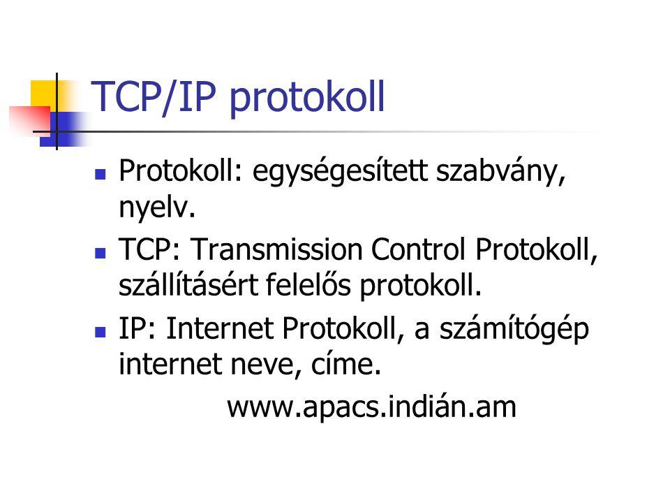 TCP/IP protokoll Protokoll: egységesített szabvány, nyelv.