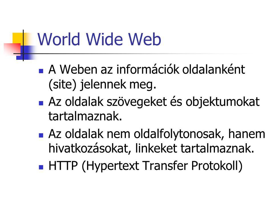 World Wide Web A Weben az információk oldalanként (site) jelennek meg.
