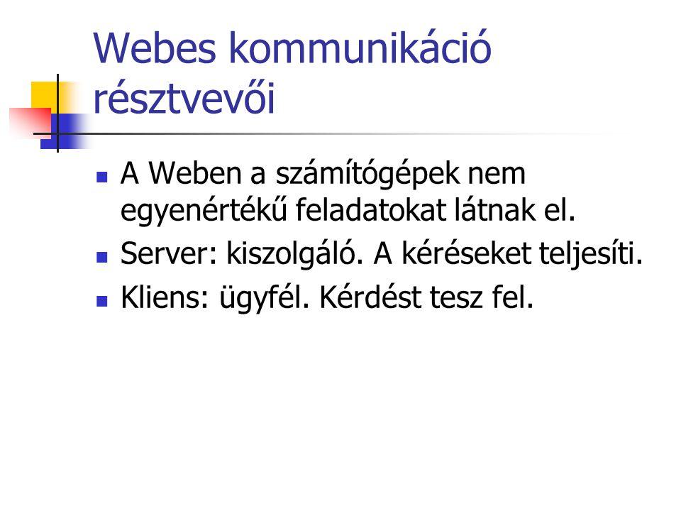Webes kommunikáció résztvevői A Weben a számítógépek nem egyenértékű feladatokat látnak el.