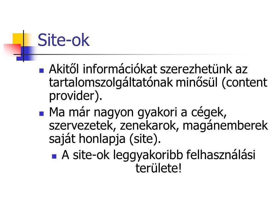 Site-ok Akitől információkat szerezhetünk az tartalomszolgáltatónak minősül (content provider).