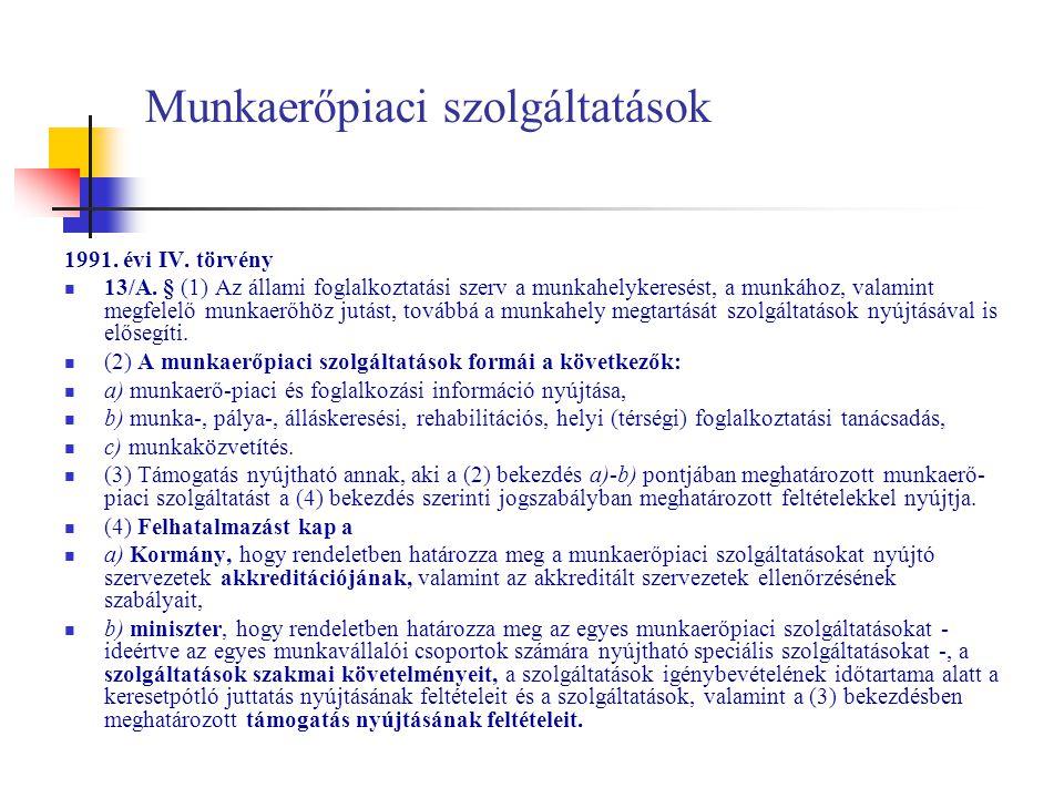 Munkaerőpiaci szolgáltatások 1991. évi IV. törvény 13/A. § (1) Az állami foglalkoztatási szerv a munkahelykeresést, a munkához, valamint megfelelő mun