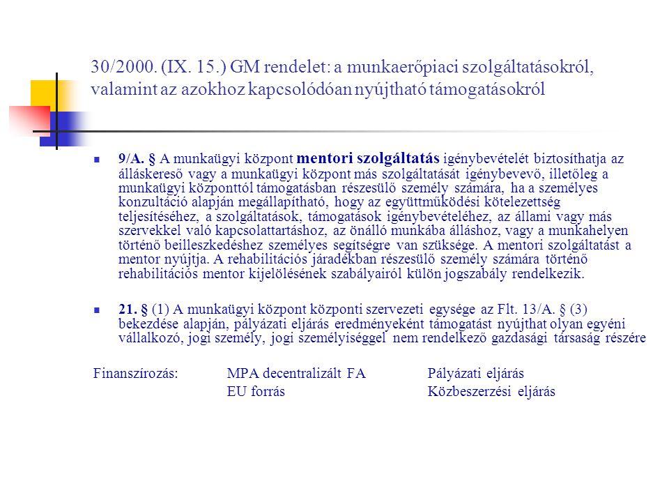 30/2000. (IX. 15.) GM rendelet: a munkaerőpiaci szolgáltatásokról, valamint az azokhoz kapcsolódóan nyújtható támogatásokról 9/A. § A munkaügyi közpon
