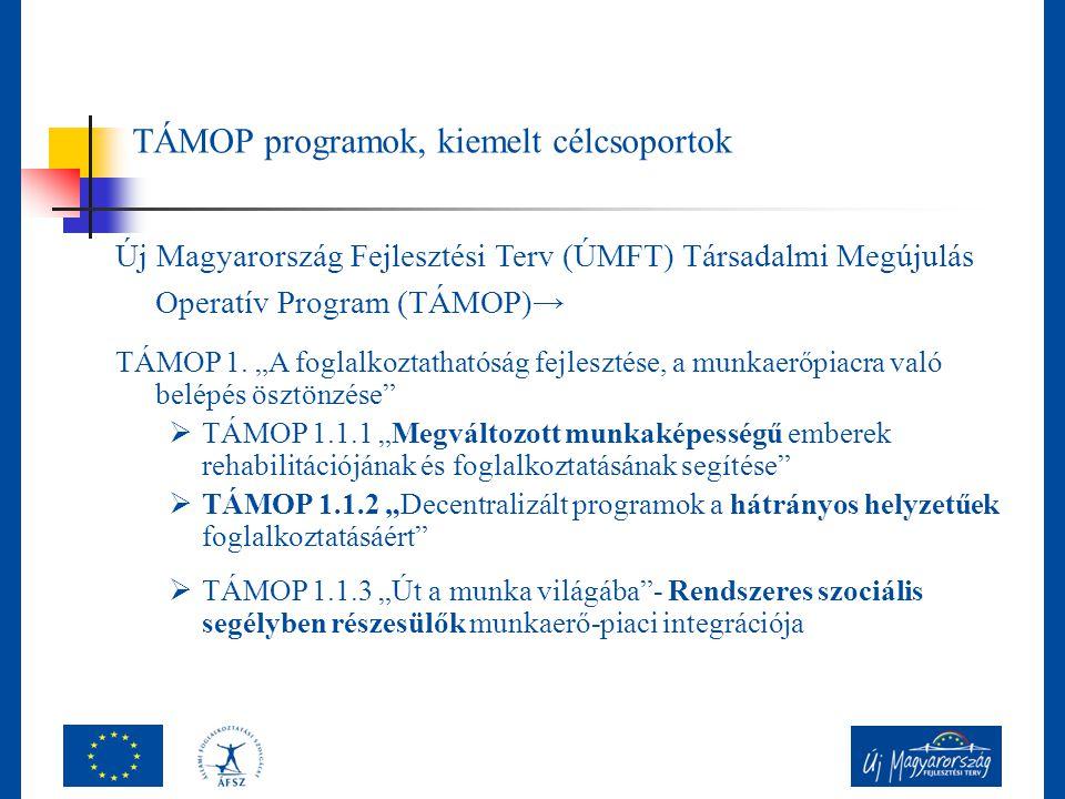 """TÁMOP programok, kiemelt célcsoportok Új Magyarország Fejlesztési Terv (ÚMFT) Társadalmi Megújulás Operatív Program (TÁMOP)→ TÁMOP 1. """"A foglalkoztath"""