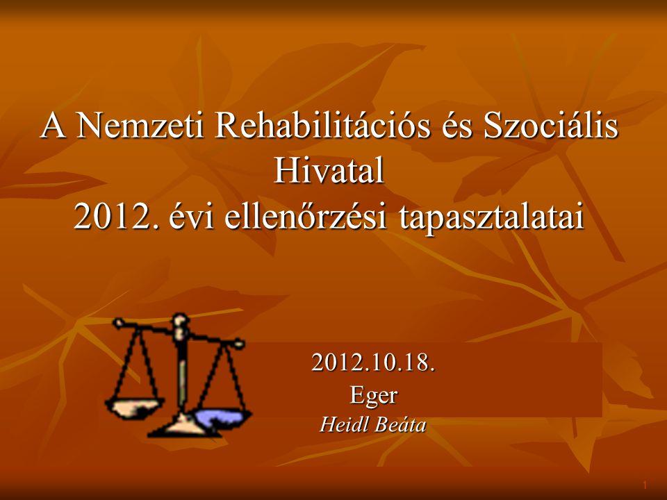Jogszabályi alapok az NRSZH ellenőrzéseinél 1.321/2009.