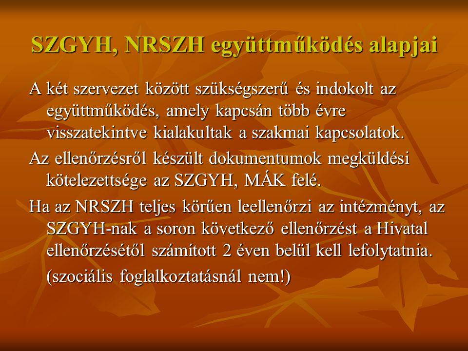 NRSZH 2012.éves ellenőrzési programját meghatározó tények 1.