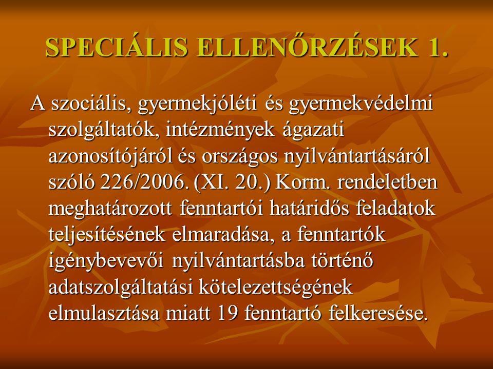 SPECIÁLIS ELLENŐRZÉSEK 2.