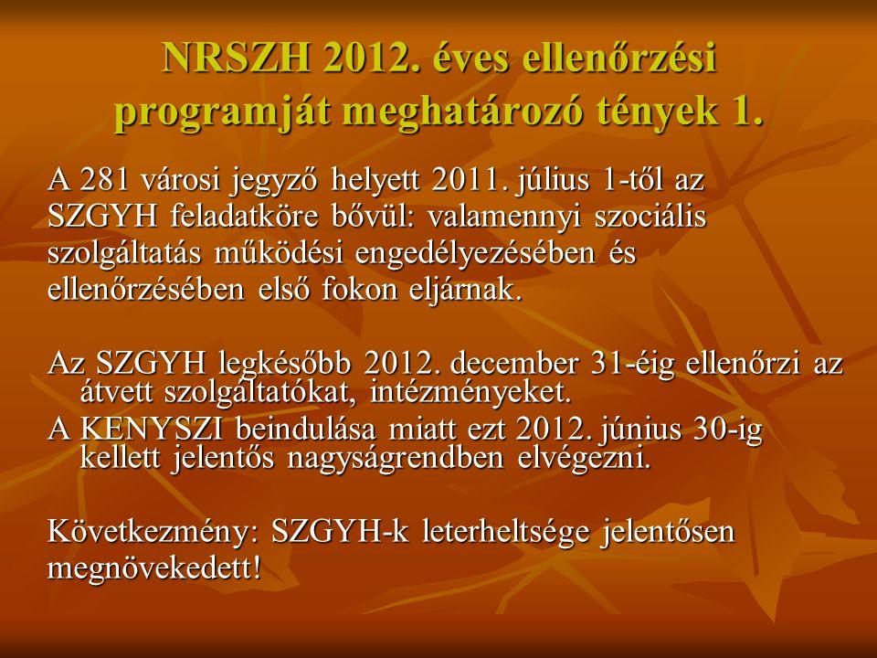 NRSZH 2012.éves ellenőrzési programját meghatározó tények 2.