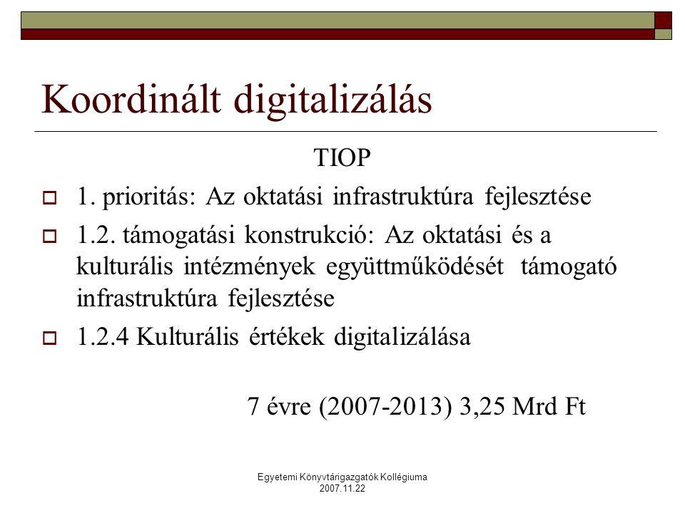 Egyetemi Könyvtárigazgatók Kollégiuma 2007.11.22 Koordinált digitalizálás TIOP  1.