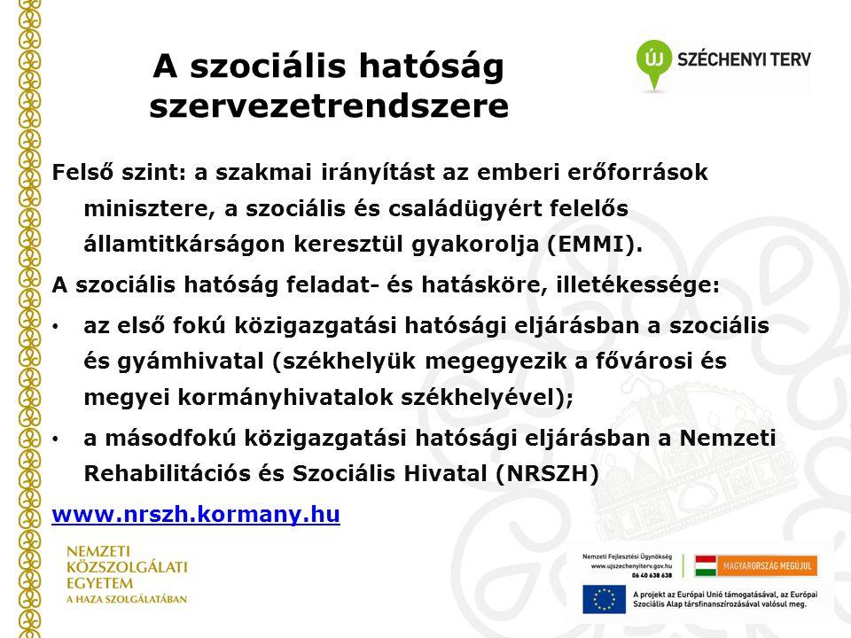 A szociális hatóság szervezetrendszere Felső szint: a szakmai irányítást az emberi erőforrások minisztere, a szociális és családügyért felelős államti