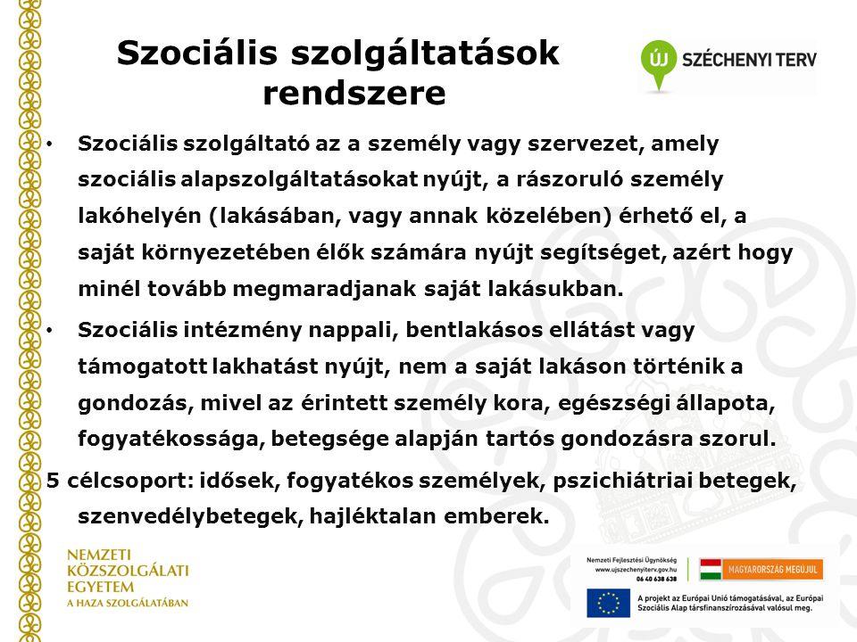 Szociális szolgáltatások rendszere Szociális szolgáltató az a személy vagy szervezet, amely szociális alapszolgáltatásokat nyújt, a rászoruló személy