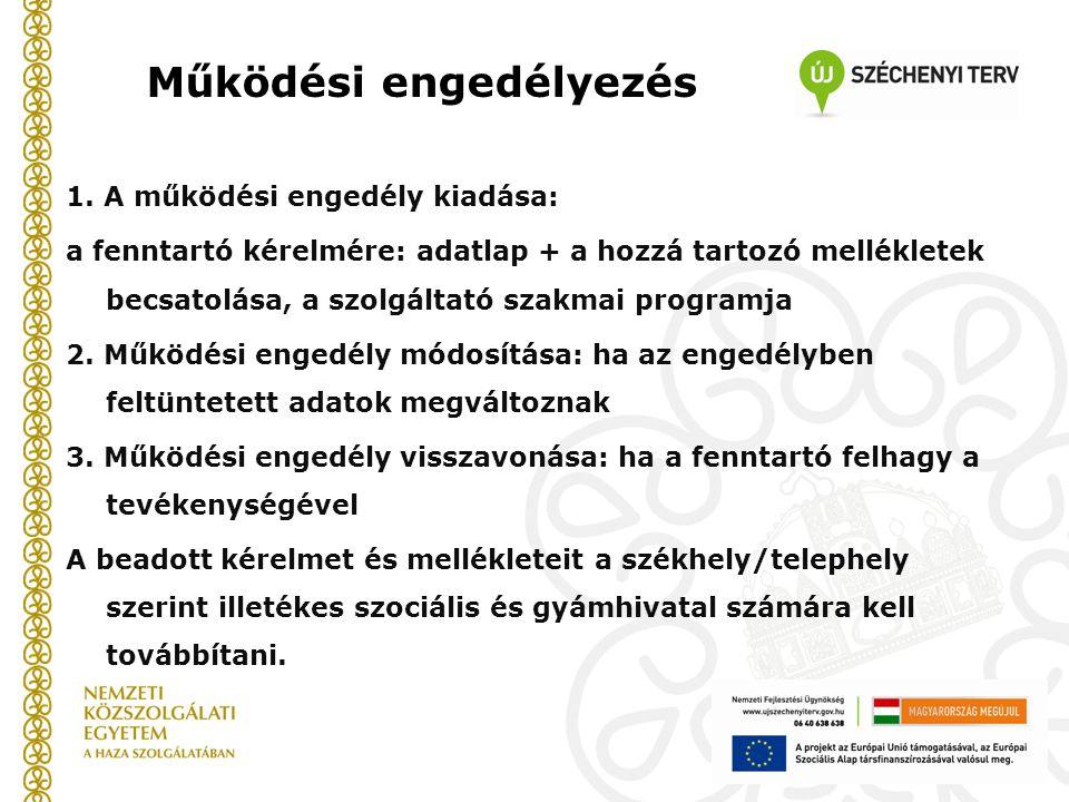 Működési engedélyezés 1. A működési engedély kiadása: a fenntartó kérelmére: adatlap + a hozzá tartozó mellékletek becsatolása, a szolgáltató szakmai