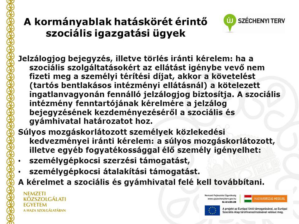 A kormányablak hatáskörét érintő szociális igazgatási ügyek Jelzálogjog bejegyzés, illetve törlés iránti kérelem: ha a szociális szolgáltatásokért az