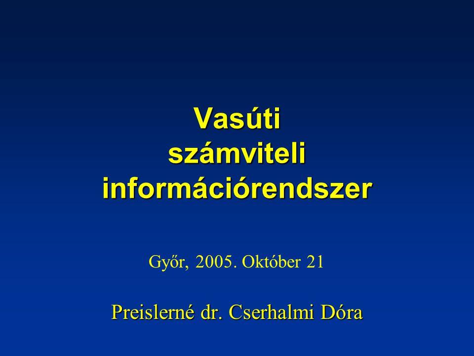 Vasúti számviteli információrendszer Győr, 2005. Október 21 Preislerné dr. Cserhalmi Dóra