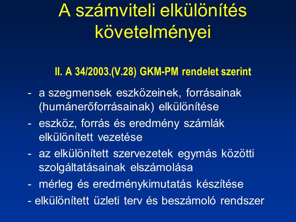 A számviteli elkülönítés követelményei II. A 34/2003.(V.28) GKM-PM rendelet szerint -a szegmensek eszközeinek, forrásainak (humánerőforrásainak) elkül