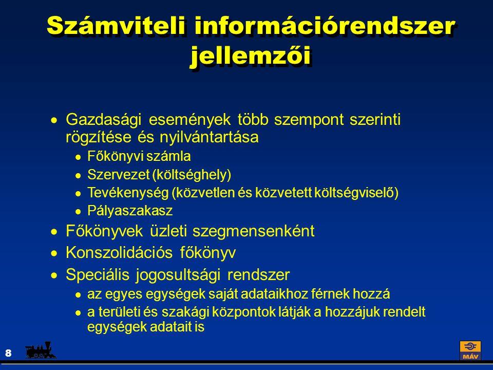 Számviteli információrendszer jellemzői 8  Gazdasági események több szempont szerinti rögzítése és nyilvántartása  Főkönyvi számla  Szervezet (költséghely)  Tevékenység (közvetlen és közvetett költségviselő)  Pályaszakasz  Főkönyvek üzleti szegmensenként  Konszolidációs főkönyv  Speciális jogosultsági rendszer  az egyes egységek saját adataikhoz férnek hozzá  a területi és szakági központok látják a hozzájuk rendelt egységek adatait is