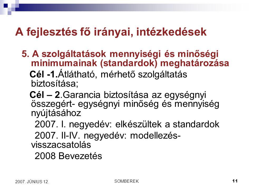 SOMBEREK11 2007. JÚNIUS 12. A fejlesztés fő irányai, intézkedések 5.