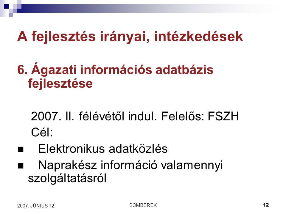 SOMBEREK12 2007. JÚNIUS 12. A fejlesztés irányai, intézkedések 6.