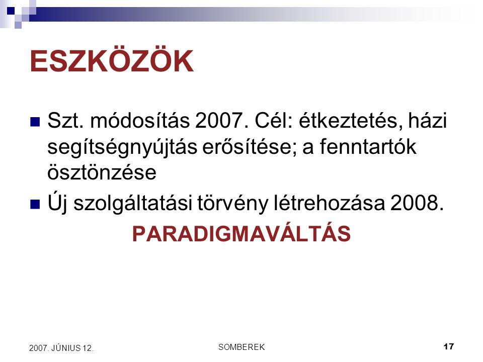 SOMBEREK17 2007. JÚNIUS 12. ESZKÖZÖK Szt. módosítás 2007.