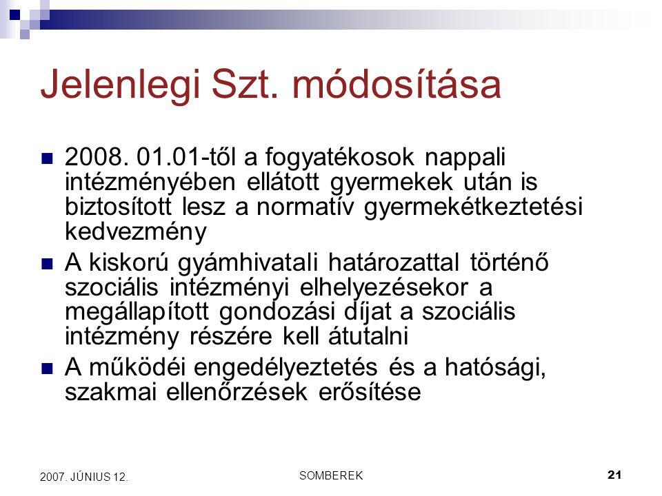 SOMBEREK21 2007. JÚNIUS 12. Jelenlegi Szt. módosítása 2008.