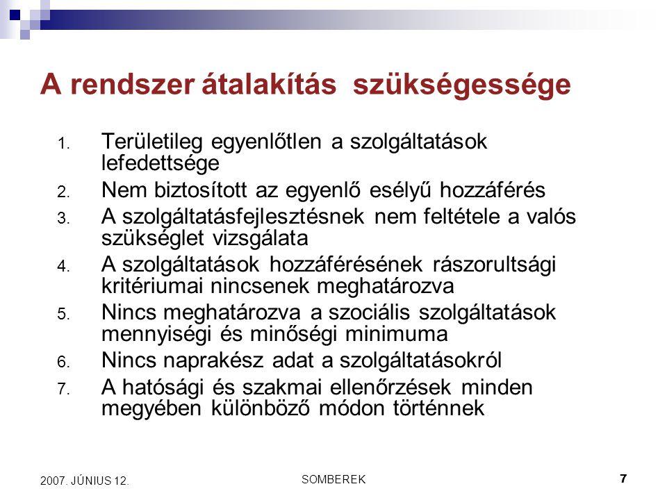 SOMBEREK7 2007. JÚNIUS 12. A rendszer átalakítás szükségessége 1.
