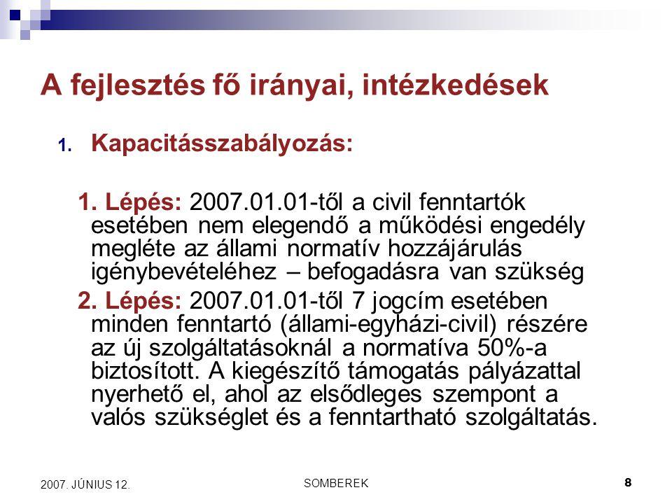 SOMBEREK8 2007. JÚNIUS 12. A fejlesztés fő irányai, intézkedések 1.