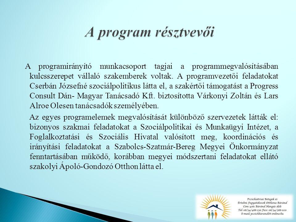 A programirányító munkacsoport tagjai a programmegvalósításában kulcsszerepet vállaló szakemberek voltak.