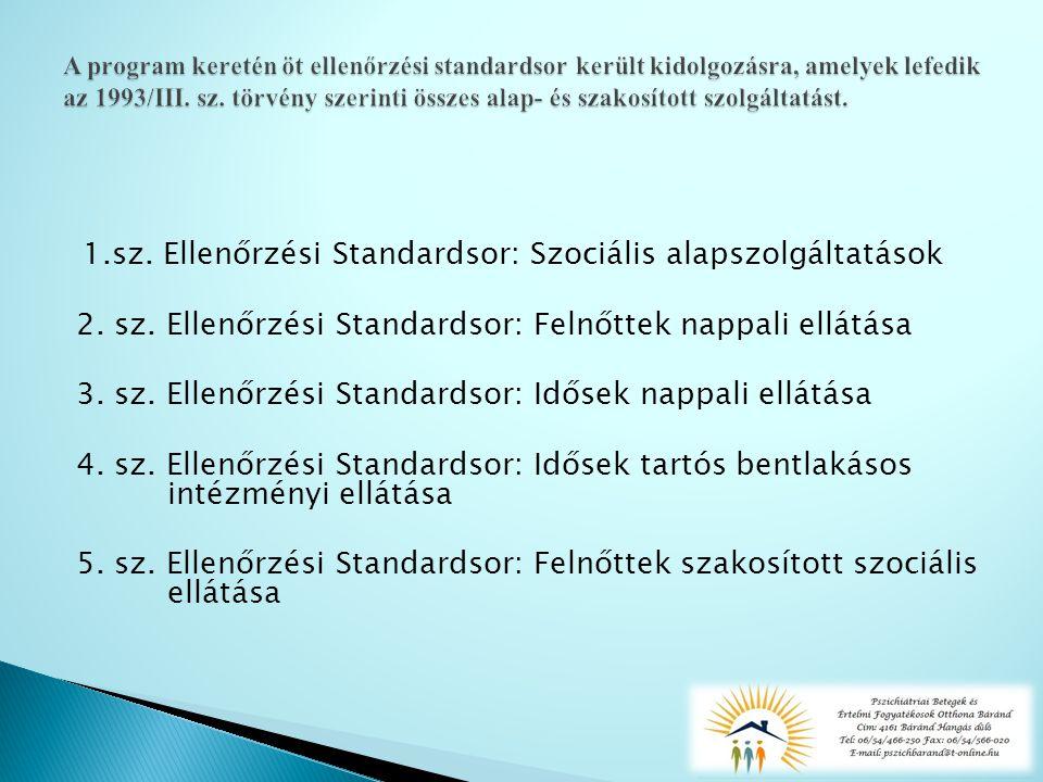 1.sz. Ellenőrzési Standardsor: Szociális alapszolgáltatások 2.