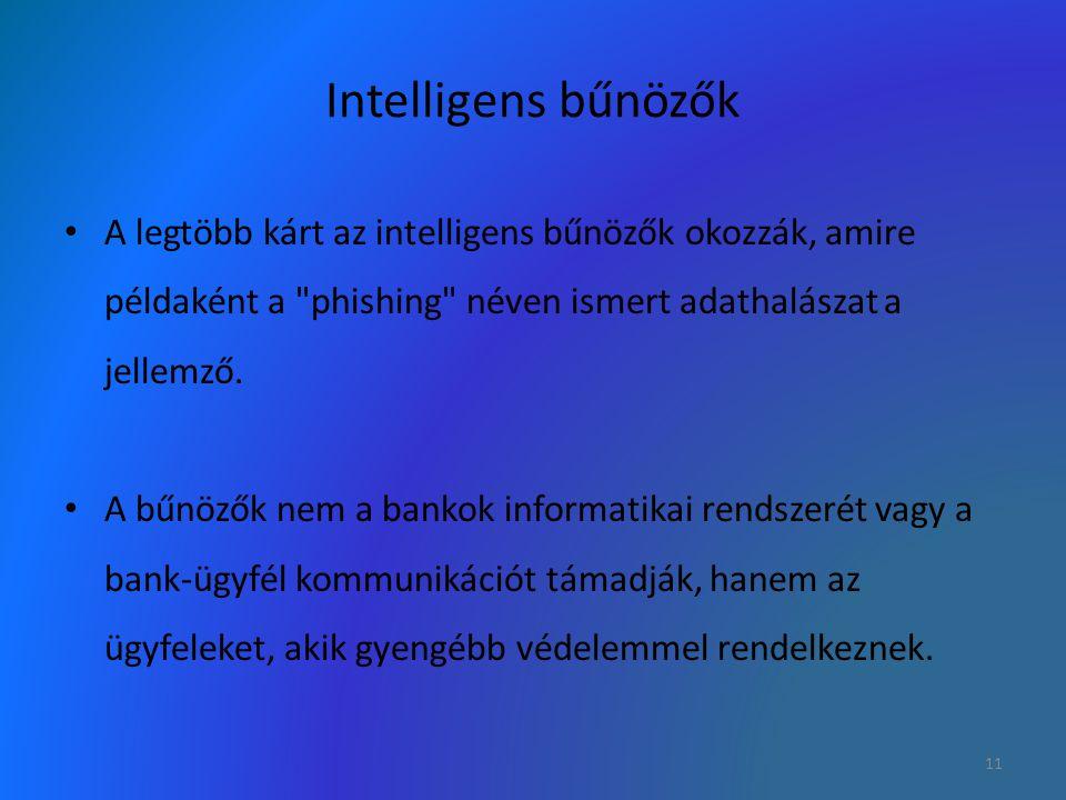 Intelligens bűnözők A legtöbb kárt az intelligens bűnözők okozzák, amire példaként a