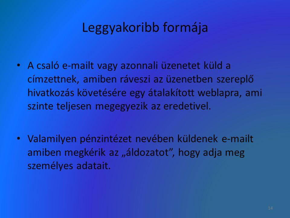 Leggyakoribb formája A csaló e-mailt vagy azonnali üzenetet küld a címzettnek, amiben ráveszi az üzenetben szereplő hivatkozás követésére egy átalakít