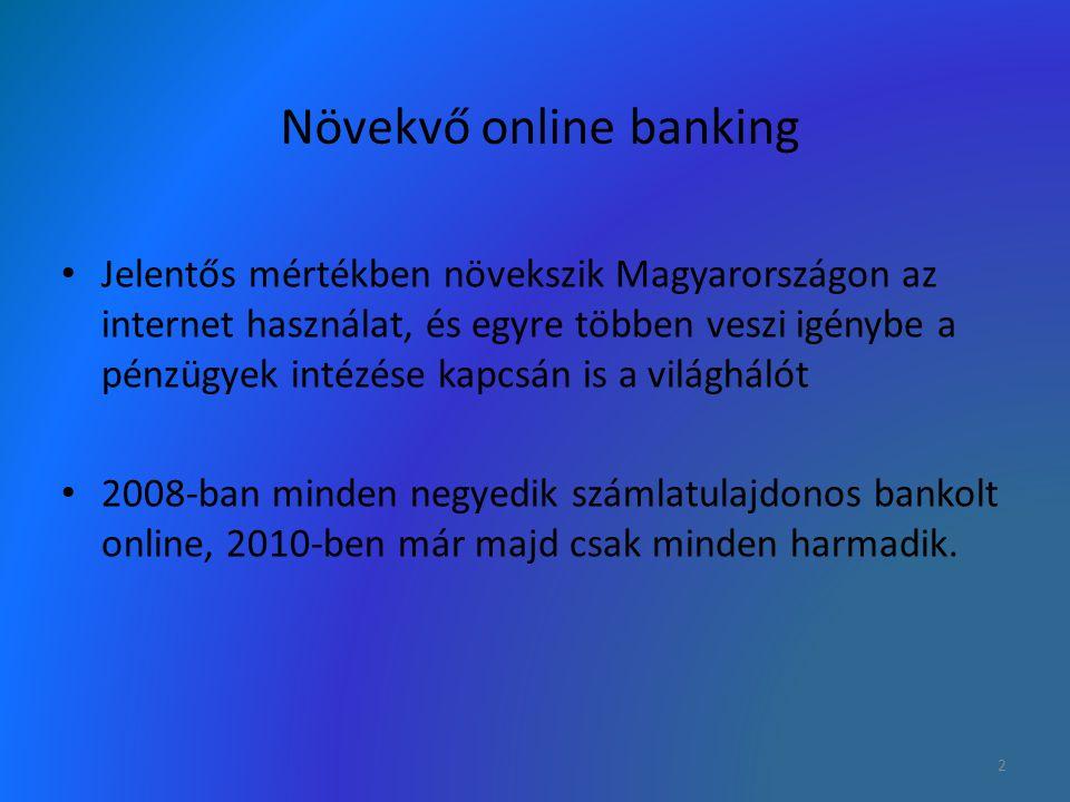 Növekvő online banking Jelentős mértékben növekszik Magyarországon az internet használat, és egyre többen veszi igénybe a pénzügyek intézése kapcsán i