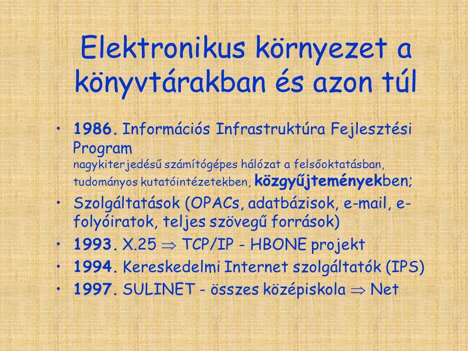 Elektronikus környezet a könyvtárakban és azon túl 1986.