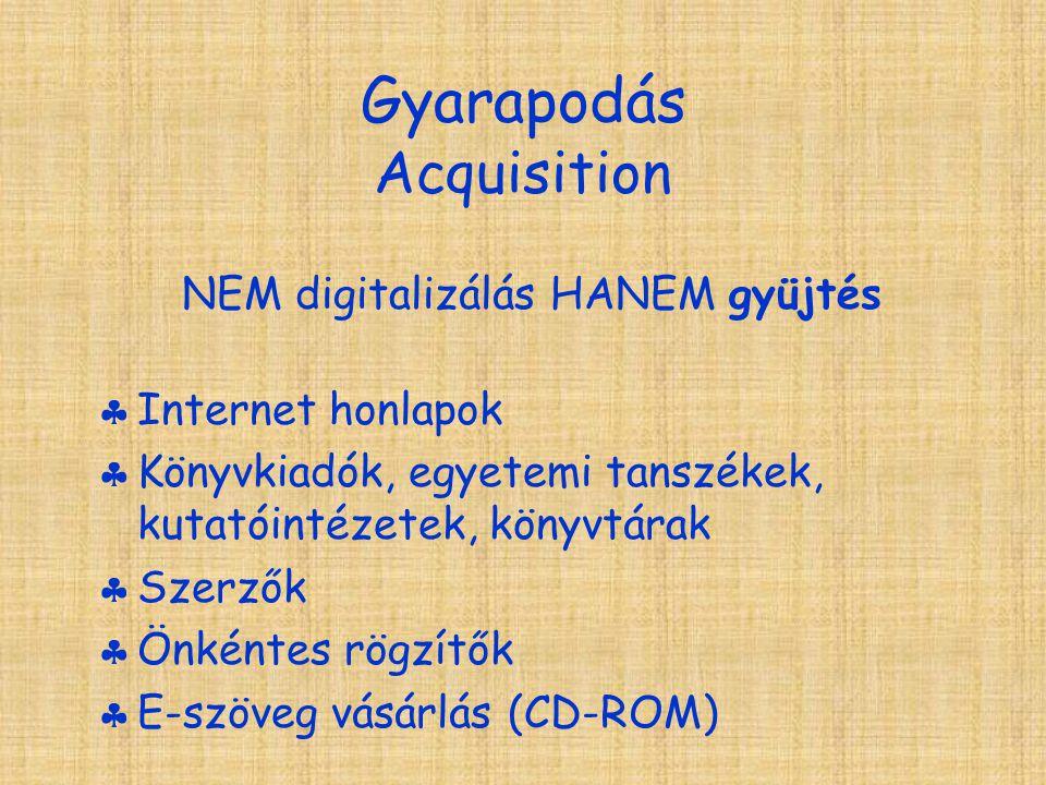 Gyarapodás Acquisition NEM digitalizálás HANEM gyüjtés  Internet honlapok  Könyvkiadók, egyetemi tanszékek, kutatóintézetek, könyvtárak  Szerzők  Önkéntes rögzítők  E-szöveg vásárlás (CD-ROM)