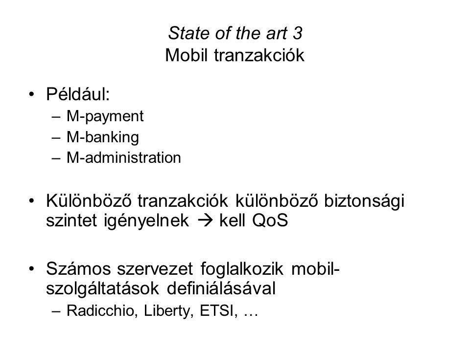 Például: –M-payment –M-banking –M-administration Különböző tranzakciók különböző biztonsági szintet igényelnek  kell QoS Számos szervezet foglalkozik mobil- szolgáltatások definiálásával –Radicchio, Liberty, ETSI, … State of the art 3 Mobil tranzakciók
