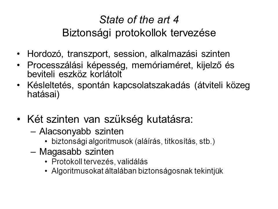 State of the art 4 Biztonsági protokollok tervezése Hordozó, transzport, session, alkalmazási szinten Processzálási képesség, memóriaméret, kijelző és