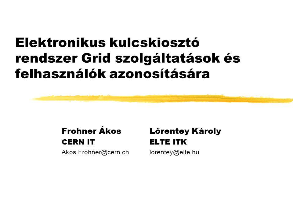 Elektronikus kulcskiosztó rendszer Grid szolgáltatások és felhasználók azonosítására Frohner ÁkosLőrentey Károly CERN ITELTE ITK Akos.Frohner@cern.chlorentey@elte.hu