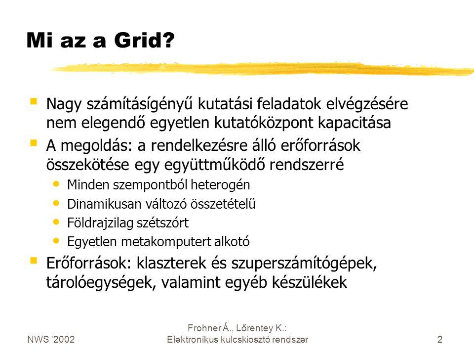 NWS 2002 Frohner Á., Lőrentey K.: Elektronikus kulcskiosztó rendszer2 Mi az a Grid.