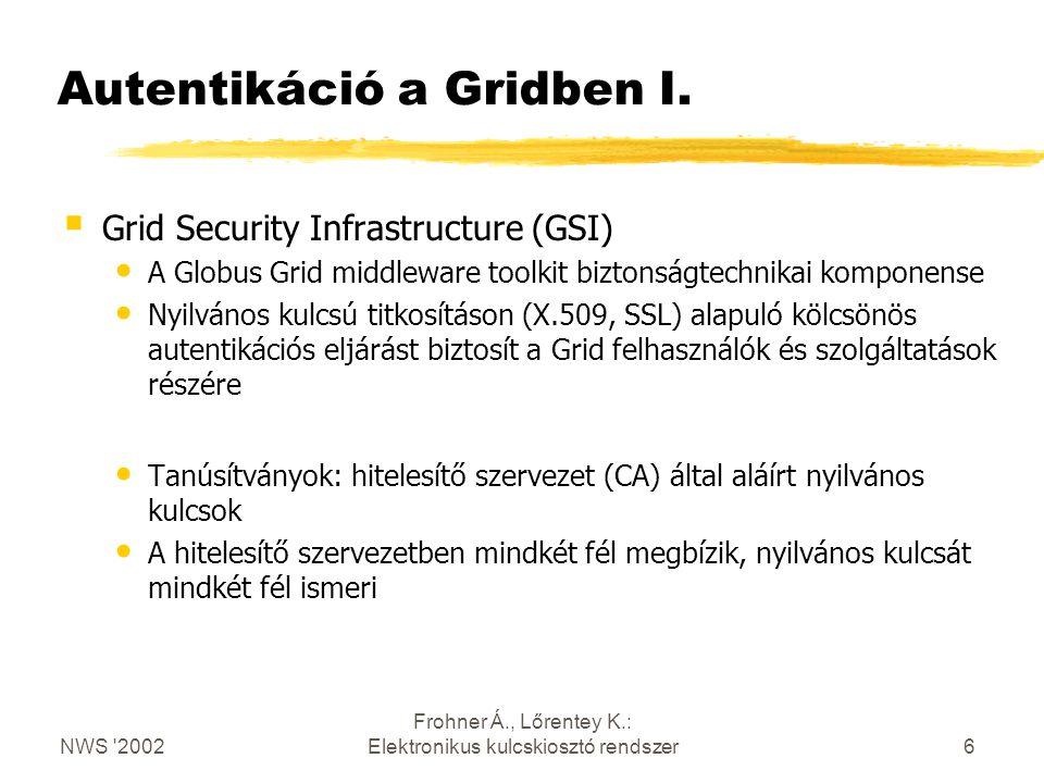 NWS 2002 Frohner Á., Lőrentey K.: Elektronikus kulcskiosztó rendszer6 Autentikáció a Gridben I.