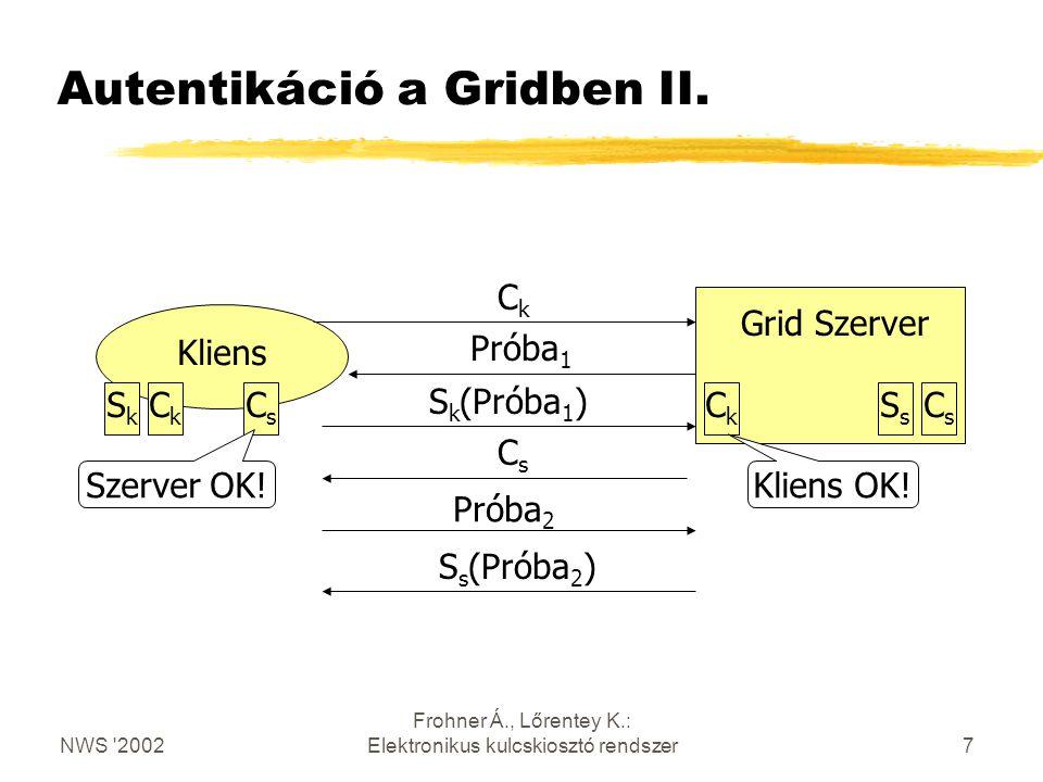 NWS 2002 Frohner Á., Lőrentey K.: Elektronikus kulcskiosztó rendszer7 Autentikáció a Gridben II.
