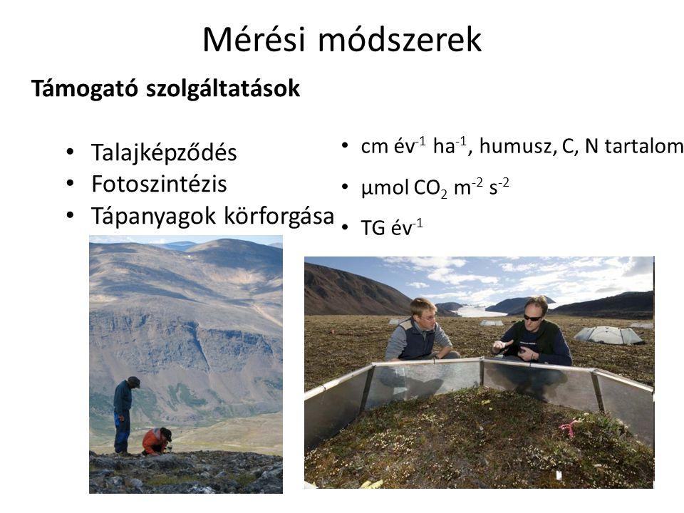 Támogató szolgáltatások Talajképződés Fotoszintézis Tápanyagok körforgása Mérési módszerek cm év -1 ha -1, humusz, C, N tartalom µmol CO 2 m -2 s -2 TG év -1