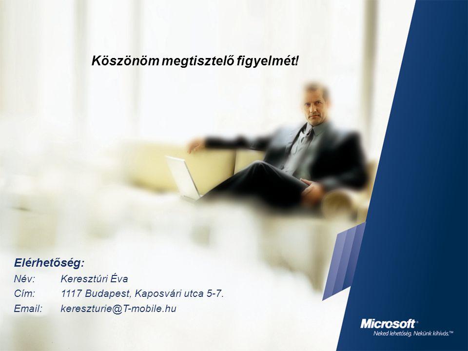 Köszönöm megtisztelő figyelmét! Elérhetőség: Név:Keresztúri Éva Cím:1117 Budapest, Kaposvári utca 5-7. Email:kereszturie@T-mobile.hu