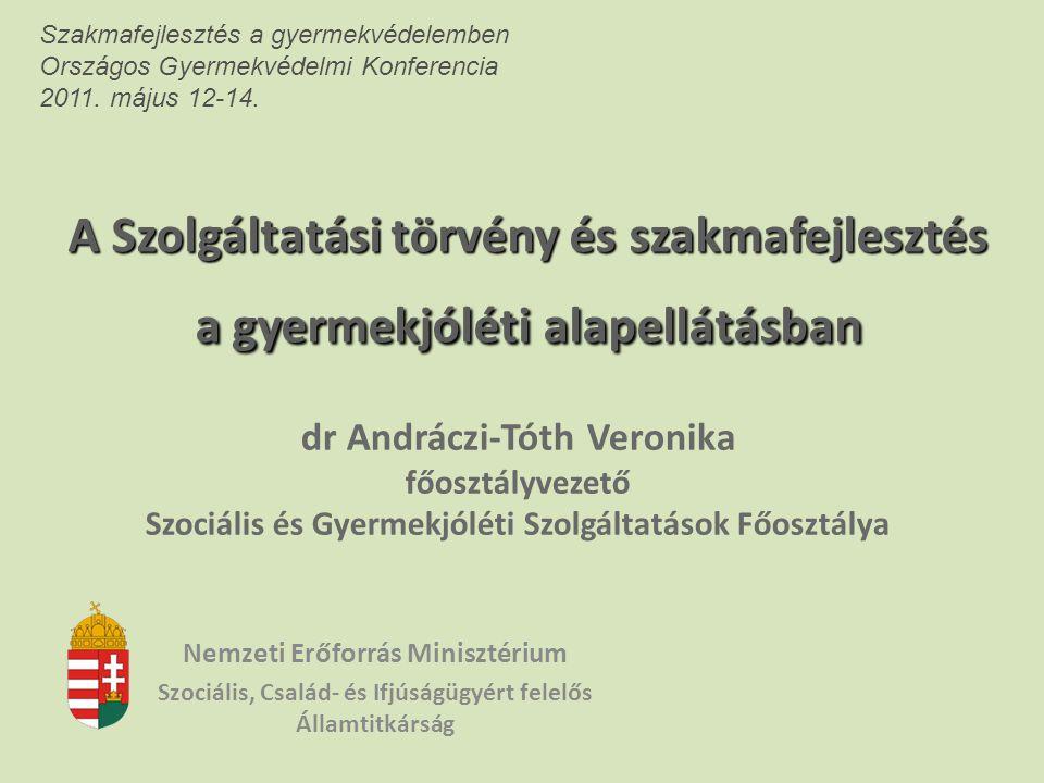 A Szolgáltatási törvény és szakmafejlesztés a gyermekjóléti alapellátásban dr Andráczi-Tóth Veronika főosztályvezető Szociális és Gyermekjóléti Szolgá