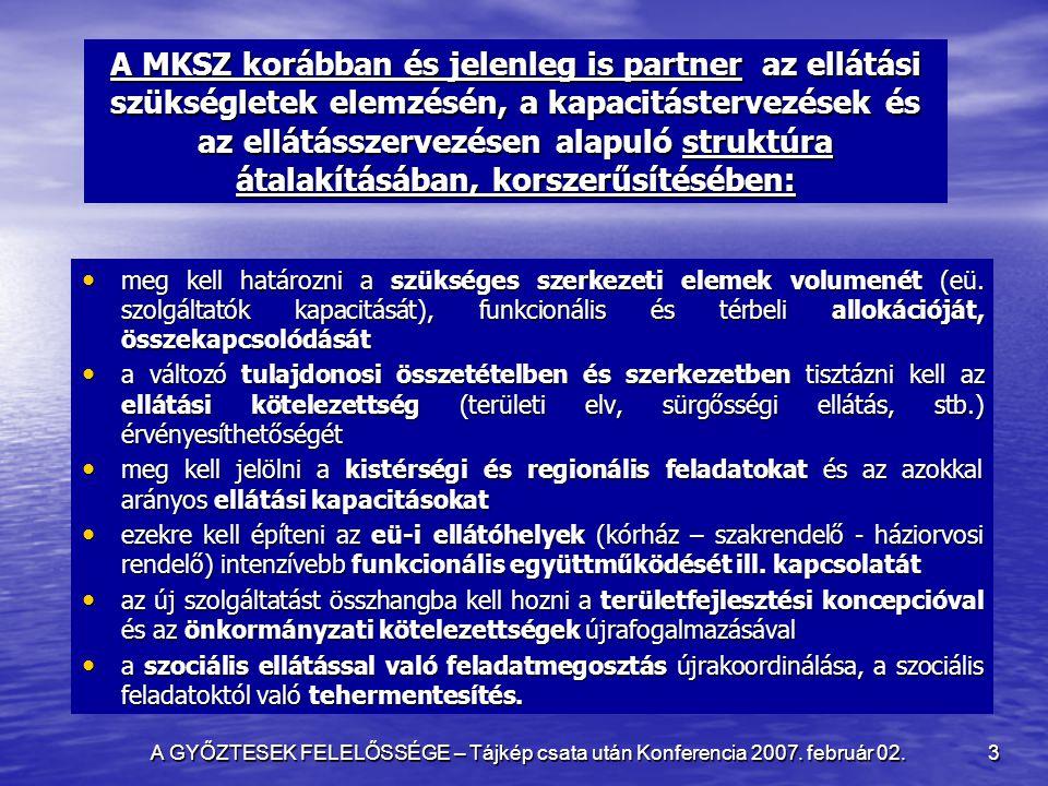 A GYŐZTESEK FELELŐSSÉGE – Tájkép csata után Konferencia 2007. február 02. 3 A MKSZ korábban és jelenleg is partner az ellátási szükségletek elemzésén,