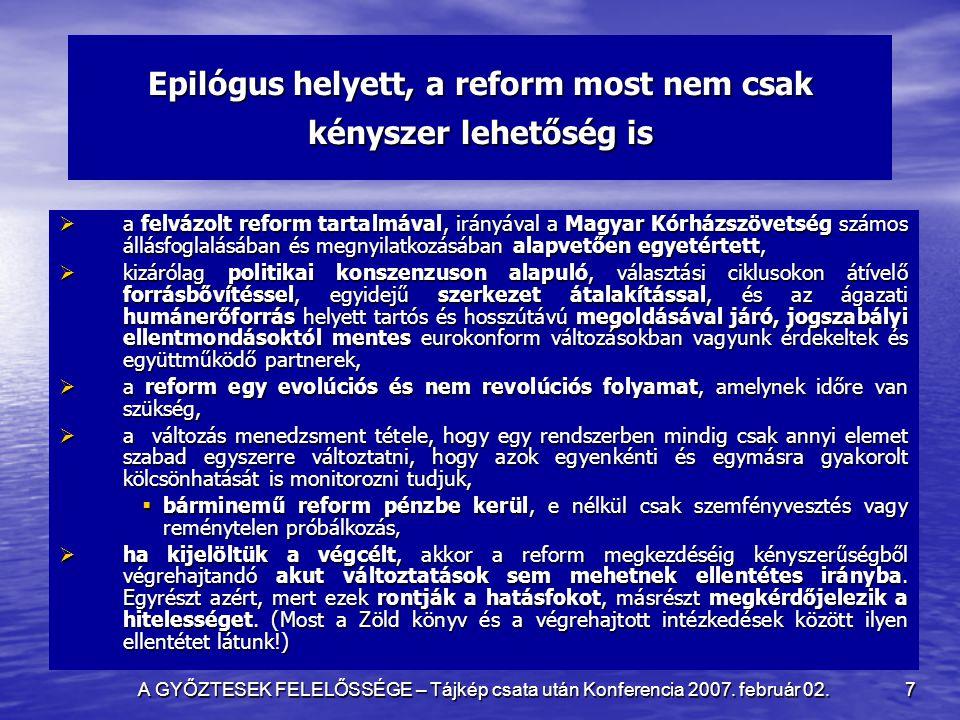 A GYŐZTESEK FELELŐSSÉGE – Tájkép csata után Konferencia 2007. február 02. 7 Epilógus helyett, a reform most nem csak kényszer lehetőség is  a felvázo
