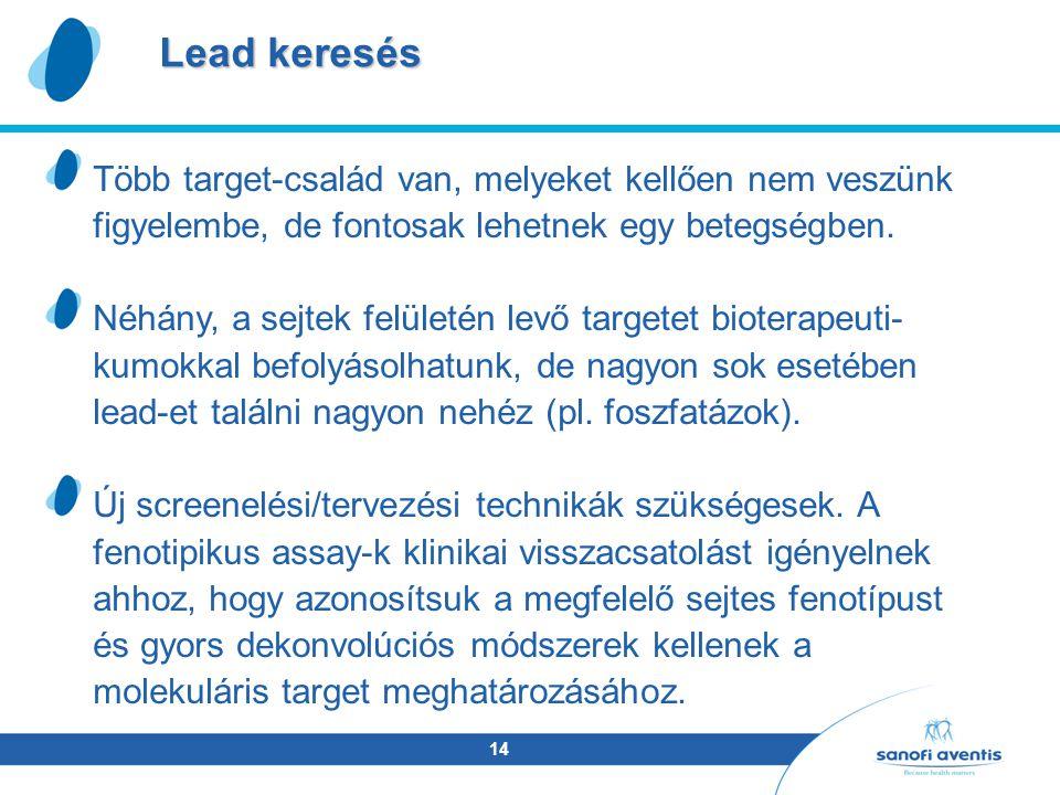 14 Lead keresés Több target-család van, melyeket kellően nem veszünk figyelembe, de fontosak lehetnek egy betegségben.