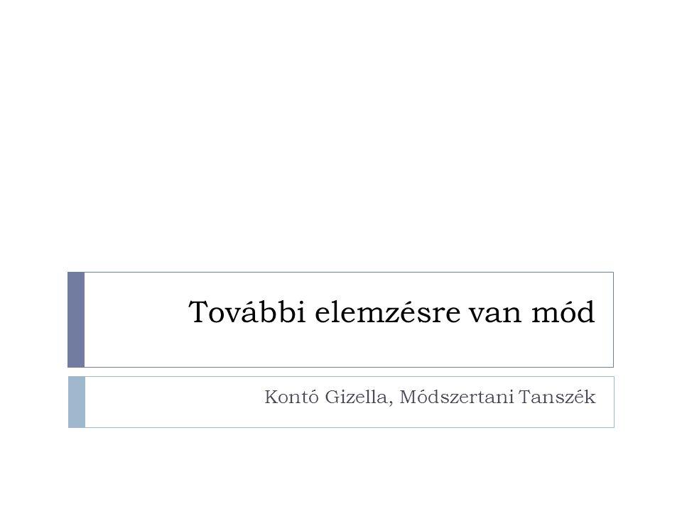 További elemzésre van mód Kontó Gizella, Módszertani Tanszék