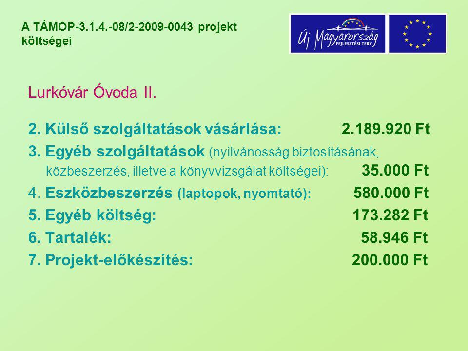 A TÁMOP-3.1.4.-08/2-2009-0043 projekt költségei Lurkóvár Óvoda II. 2. Külső szolgáltatások vásárlása: 2.189.920 Ft 3. Egyéb szolgáltatások (nyilvánoss