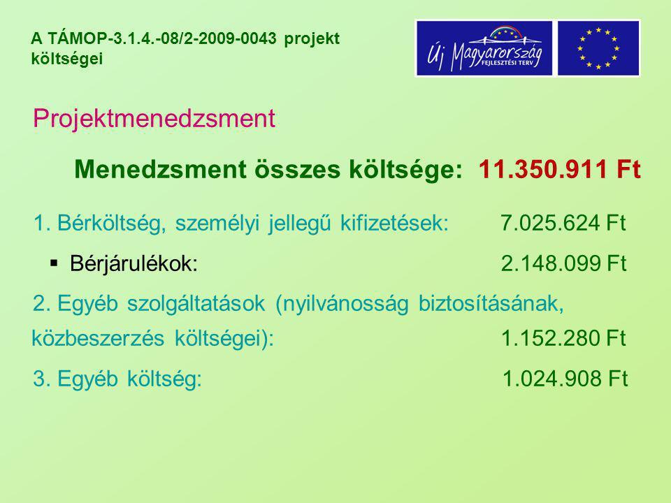 A TÁMOP-3.1.4.-08/2-2009-0043 projekt költségei Projektmenedzsment Menedzsment összes költsége: 11.350.911 Ft 1. Bérköltség, személyi jellegű kifizeté