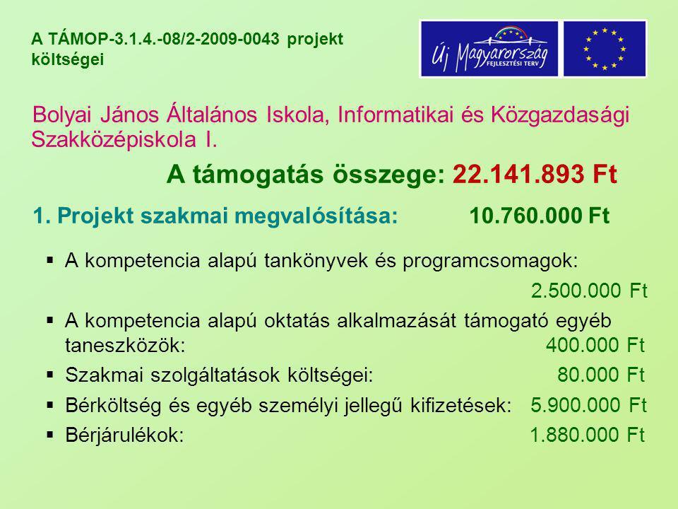 A TÁMOP-3.1.4.-08/2-2009-0043 projekt költségei Bolyai János Általános Iskola, Informatikai és Közgazdasági Szakközépiskola II.