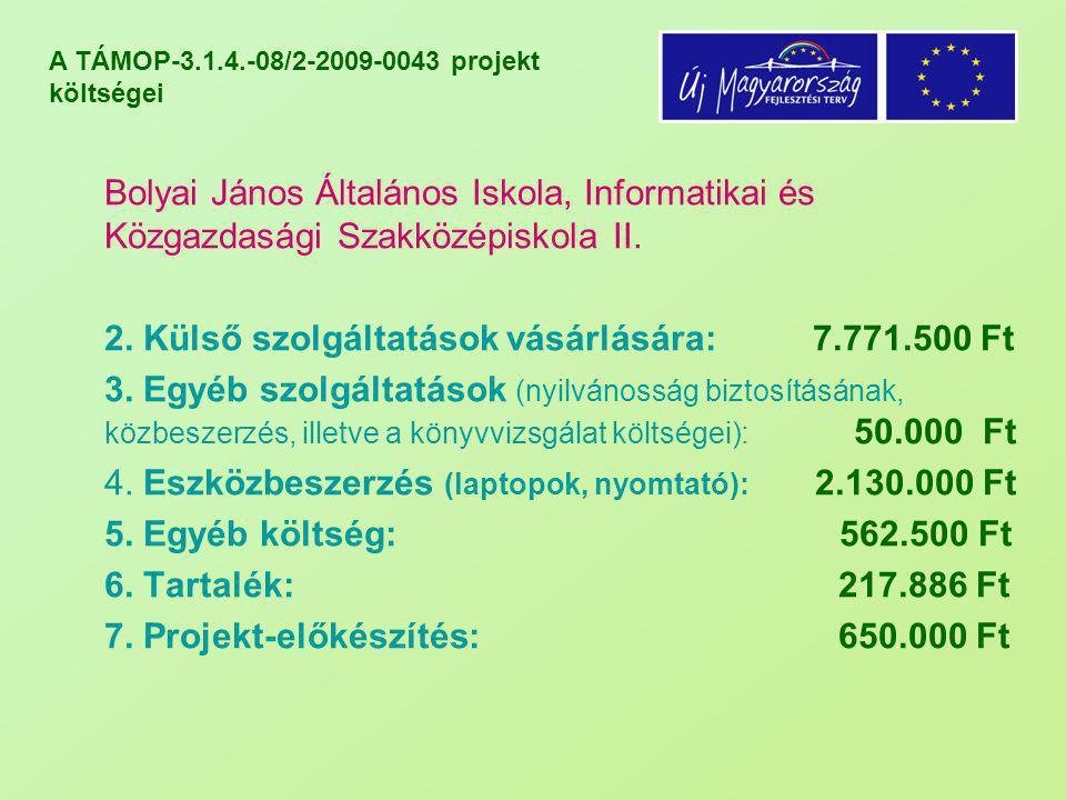 A TÁMOP-3.1.4.-08/2-2009-0043 projekt költségei Bolyai János Általános Iskola, Informatikai és Közgazdasági Szakközépiskola II. 2. Külső szolgáltatáso